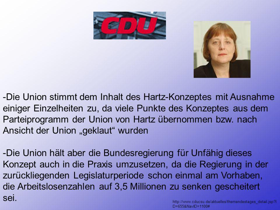 """-Die Union stimmt dem Inhalt des Hartz-Konzeptes mit Ausnahme einiger Einzelheiten zu, da viele Punkte des Konzeptes aus dem Parteiprogramm der Union von Hartz übernommen bzw. nach Ansicht der Union """"geklaut wurden"""