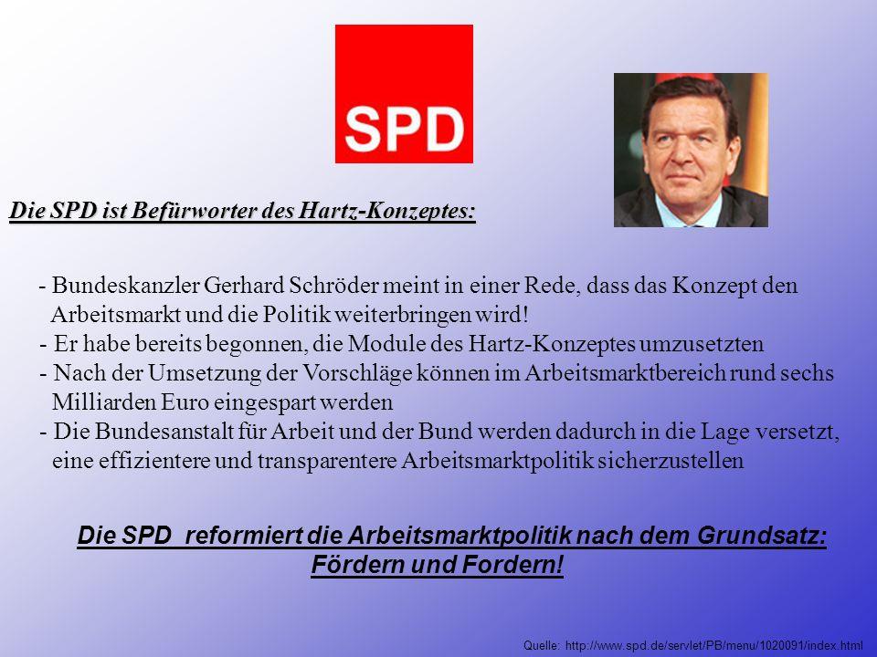 Die SPD ist Befürworter des Hartz-Konzeptes: