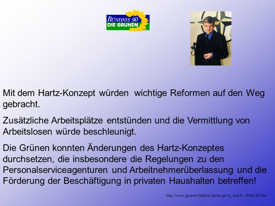 Mit dem Hartz-Konzept würden wichtige Reformen auf den Weg gebracht.