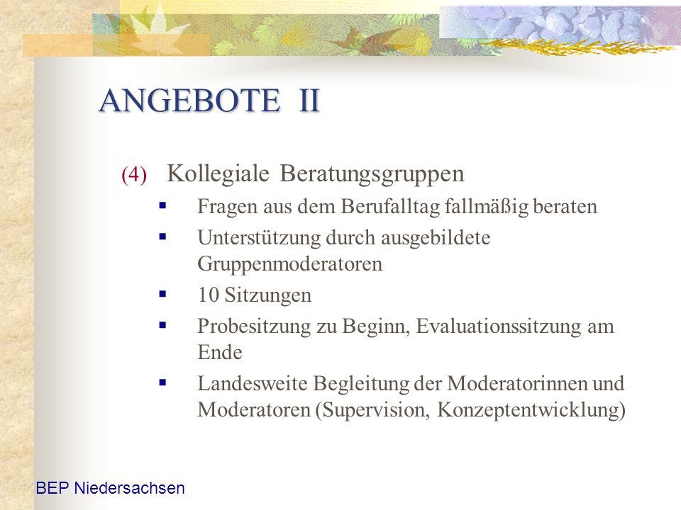 ANGEBOTE II Kollegiale Beratungsgruppen
