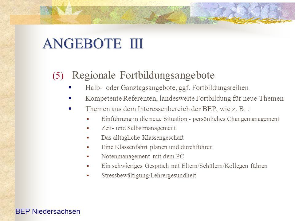 ANGEBOTE III Regionale Fortbildungsangebote