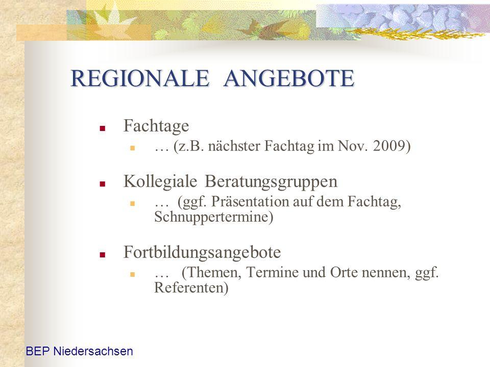 REGIONALE ANGEBOTE Fachtage Kollegiale Beratungsgruppen