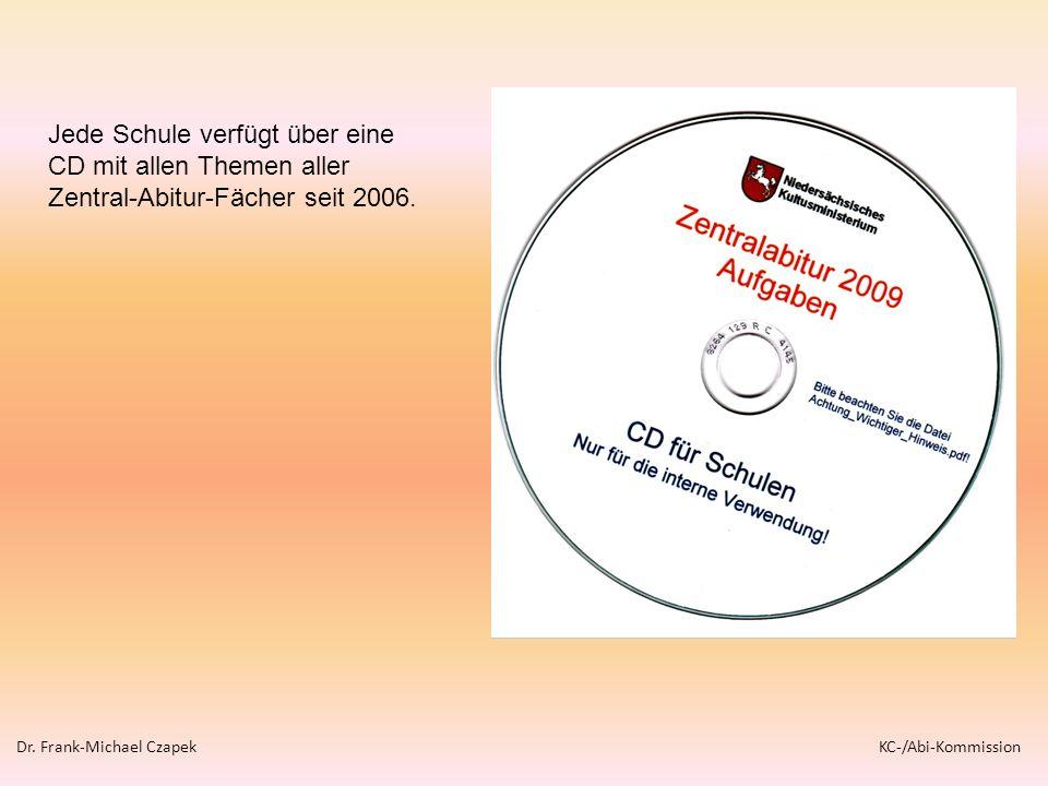 Jede Schule verfügt über eine CD mit allen Themen aller Zentral-Abitur-Fächer seit 2006.