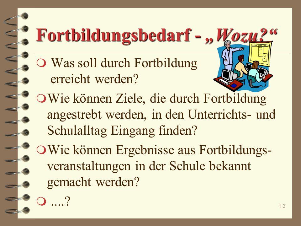 """Fortbildungsbedarf - """"Wozu"""