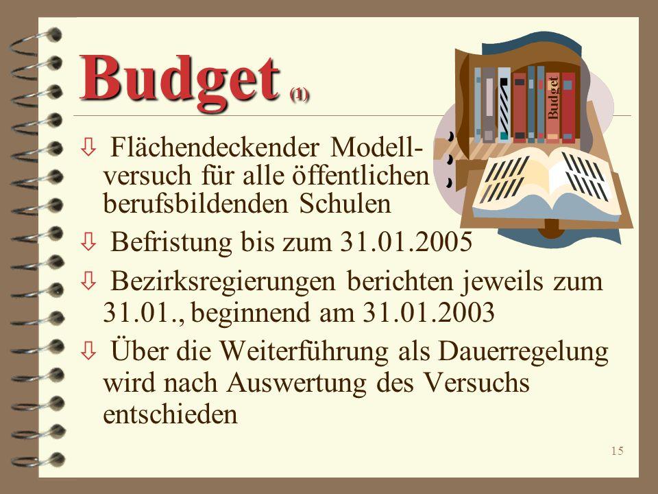 Budget (1) Budget. Flächendeckender Modell- versuch für alle öffentlichen berufsbildenden Schulen.