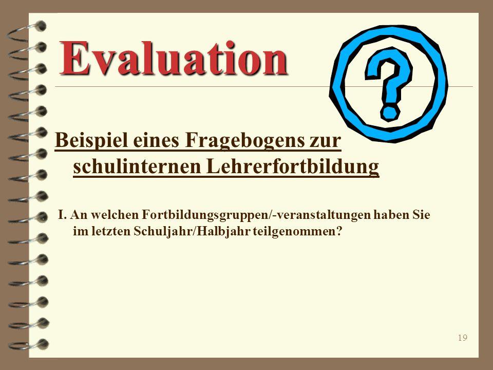 Evaluation Beispiel eines Fragebogens zur schulinternen Lehrerfortbildung.