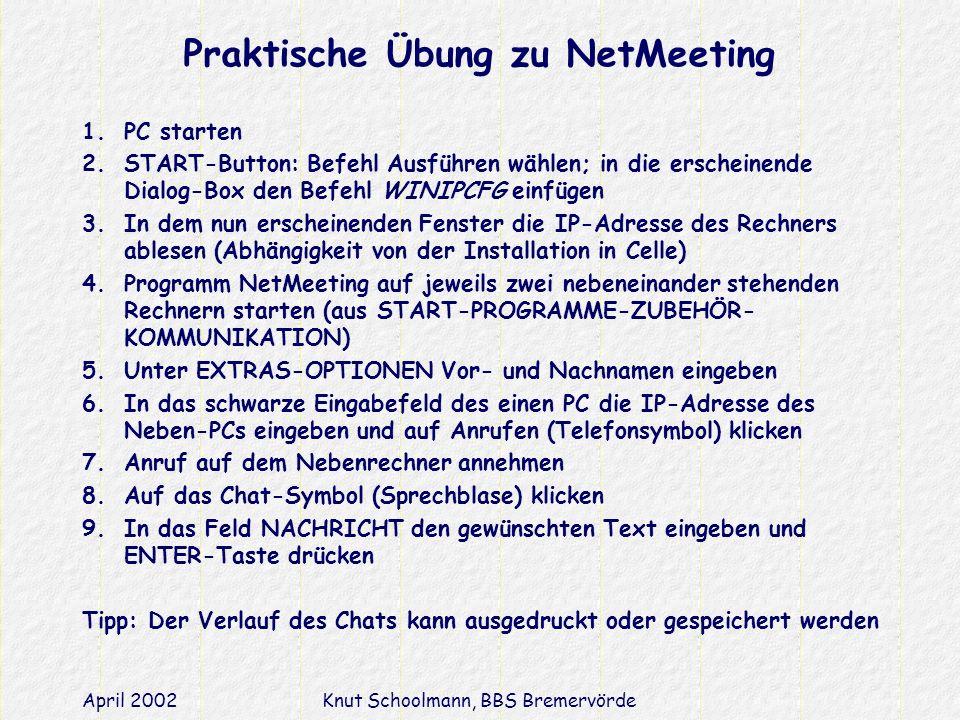 Praktische Übung zu NetMeeting