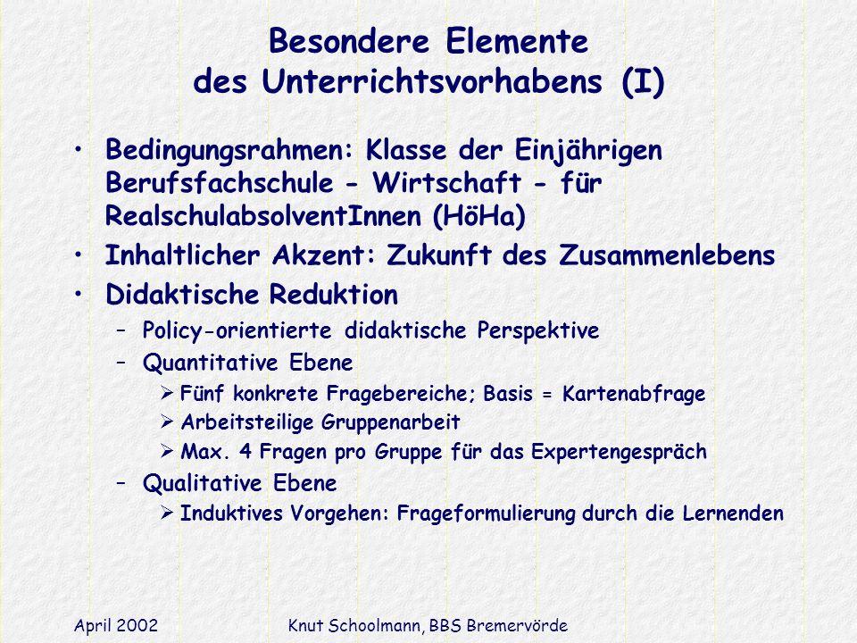 Besondere Elemente des Unterrichtsvorhabens (I)