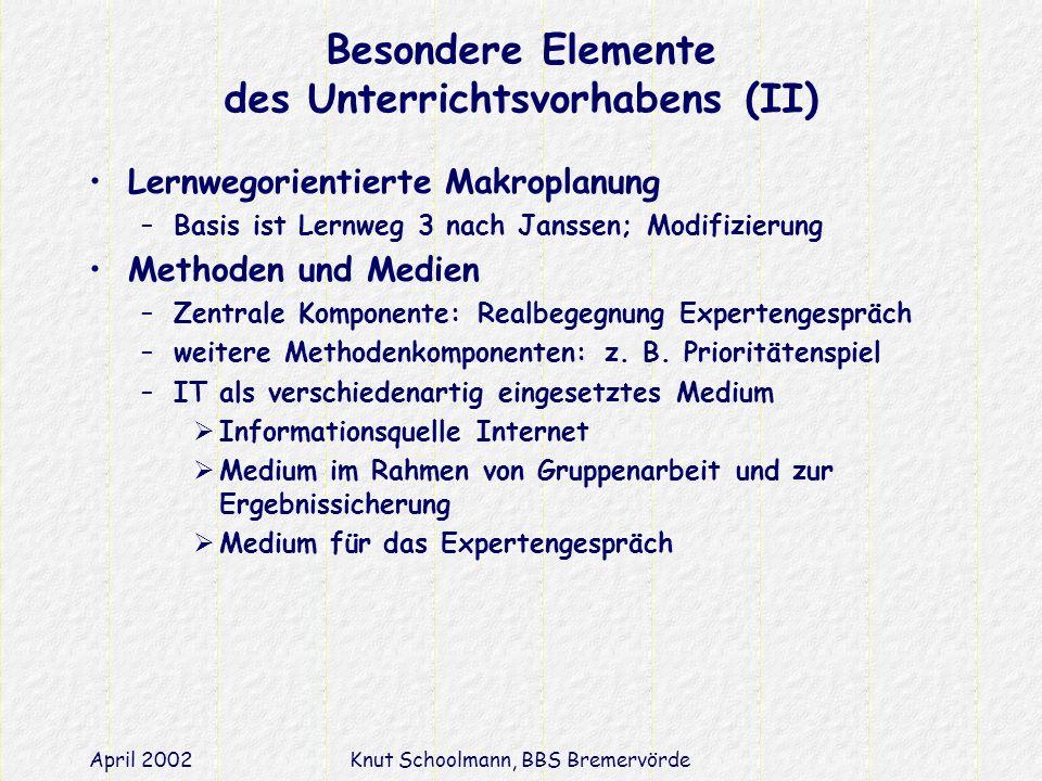 Besondere Elemente des Unterrichtsvorhabens (II)