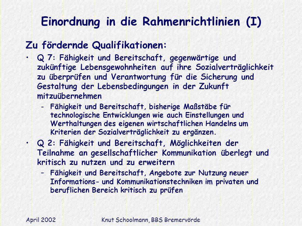Einordnung in die Rahmenrichtlinien (I)