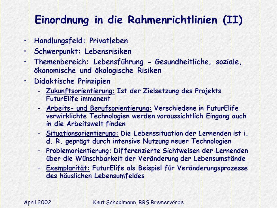 Einordnung in die Rahmenrichtlinien (II)