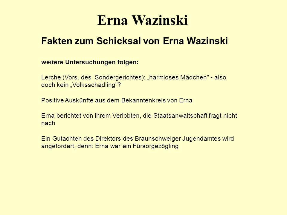 Erna Wazinski Fakten zum Schicksal von Erna Wazinski
