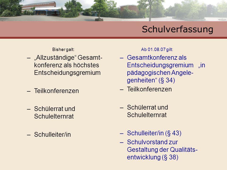 """SchulverfassungBisher galt: """"Allzuständige Gesamt-konferenz als höchstes Entscheidungsgremium. Teilkonferenzen."""