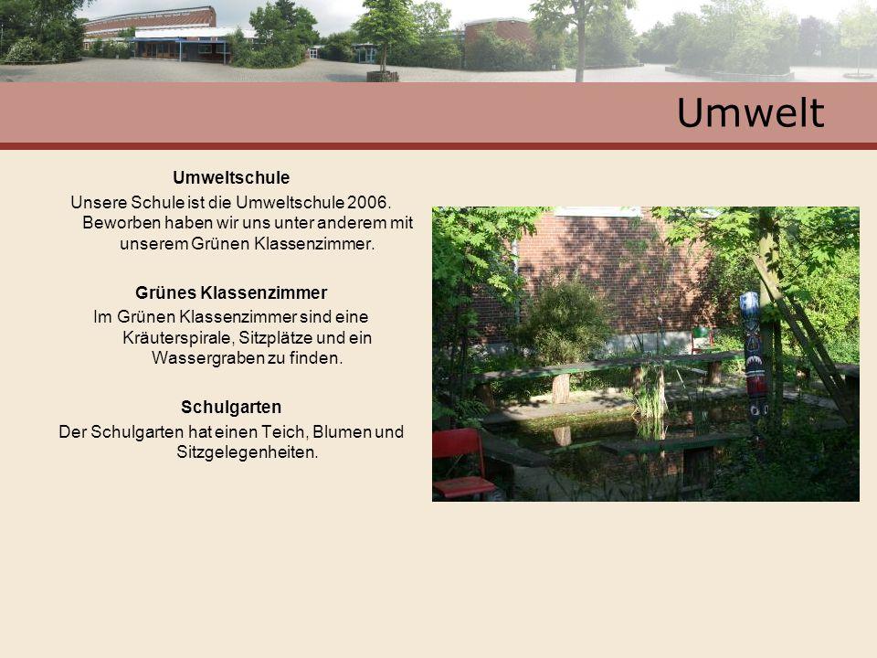 Der Schulgarten hat einen Teich, Blumen und Sitzgelegenheiten.