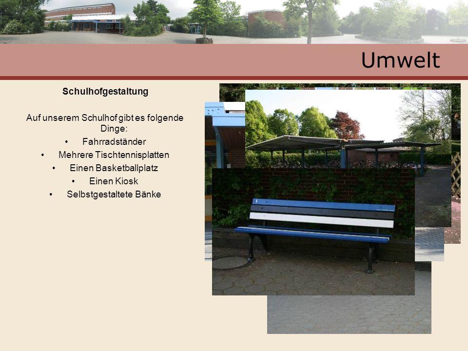 Umwelt Schulhofgestaltung Auf unserem Schulhof gibt es folgende Dinge: