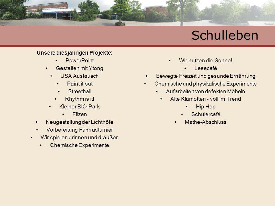 Unsere diesjährigen Projekte: