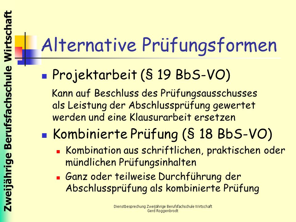 Alternative Prüfungsformen