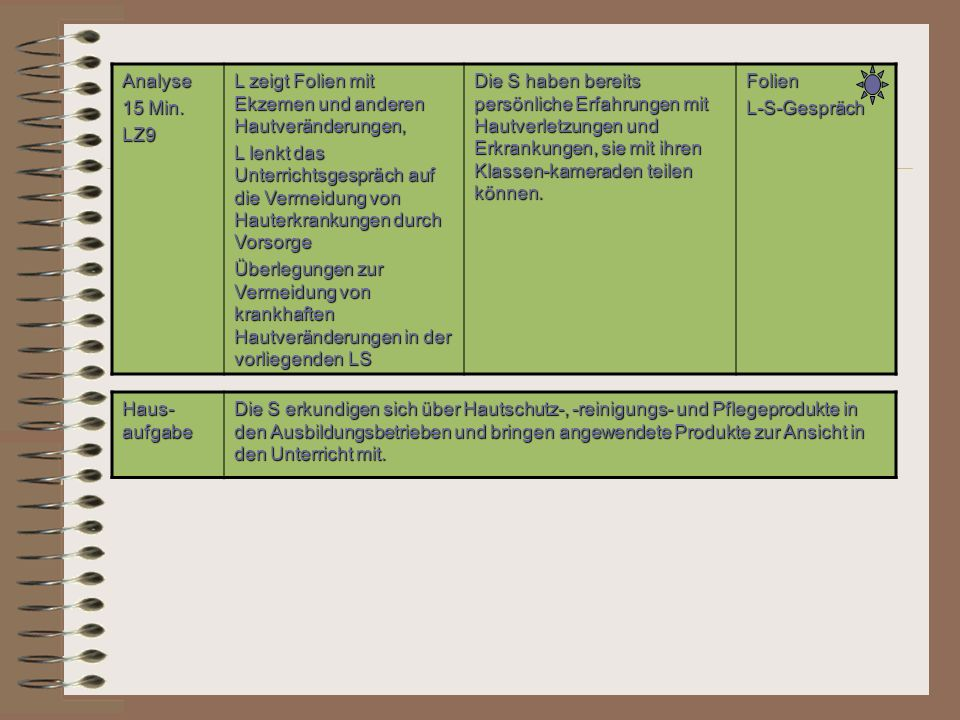 Analyse 15 Min. LZ9. L zeigt Folien mit Ekzemen und anderen Hautveränderungen,