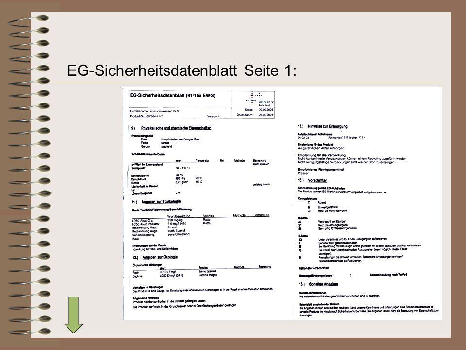 EG-Sicherheitsdatenblatt Seite 1: