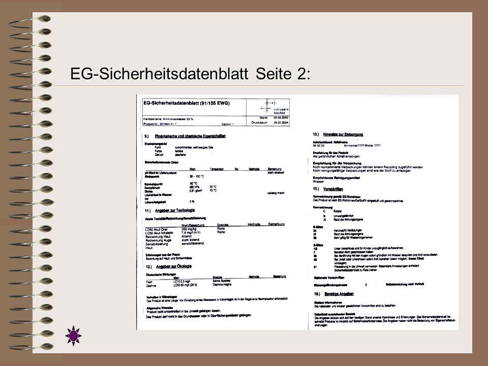 EG-Sicherheitsdatenblatt Seite 2: