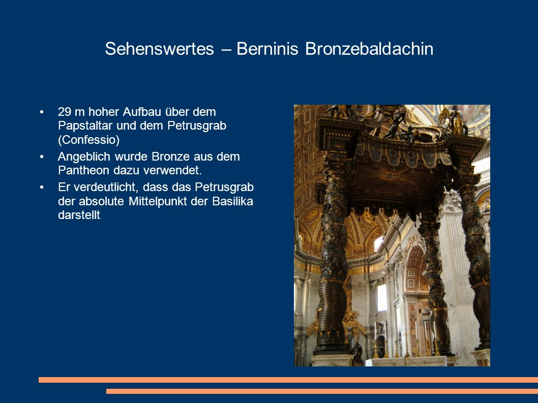 Sehenswertes – Berninis Bronzebaldachin