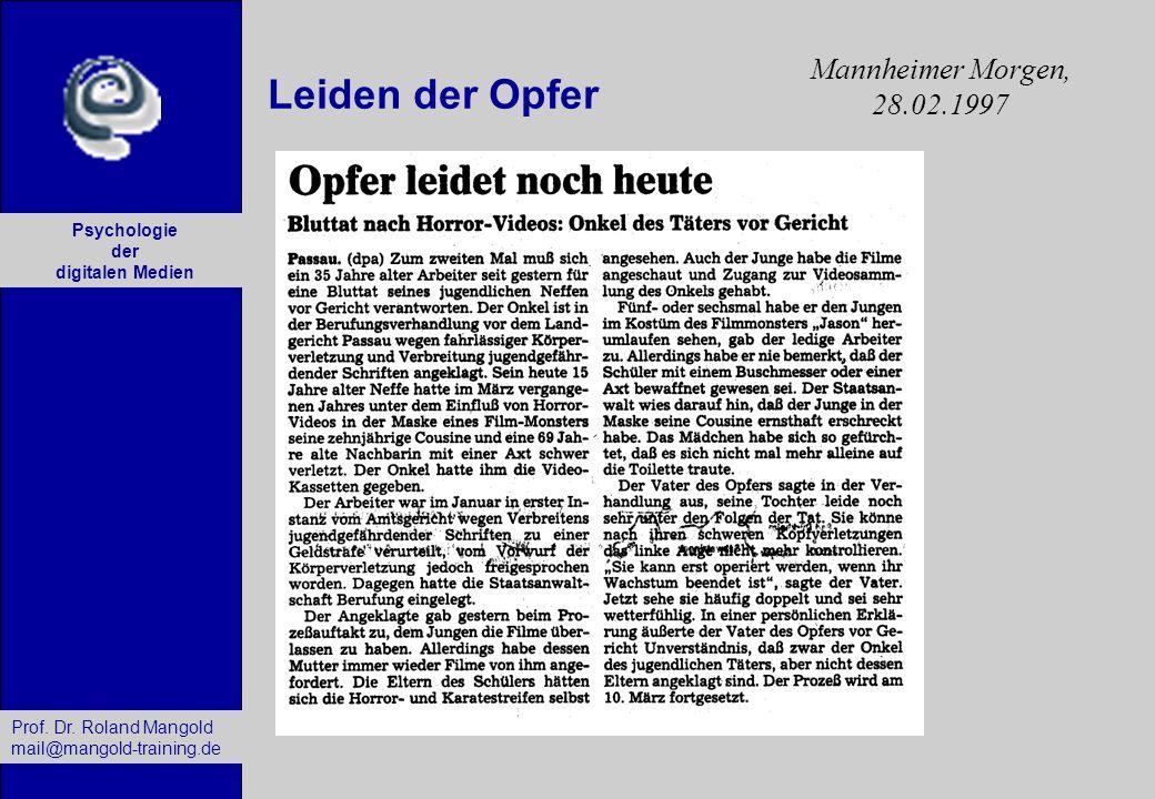 Mannheimer Morgen, 28.02.1997 Leiden der Opfer