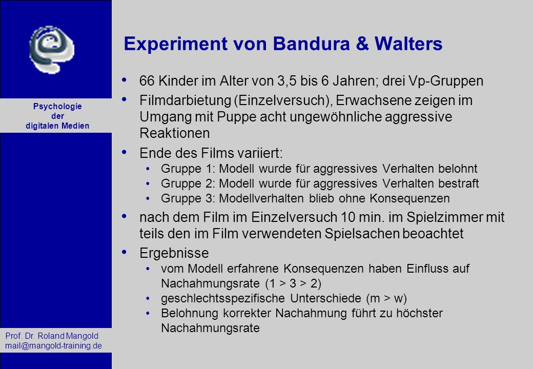 Experiment von Bandura & Walters