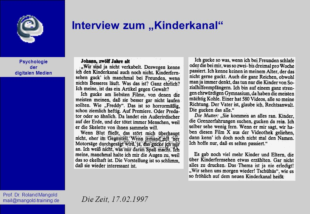"Interview zum ""Kinderkanal"