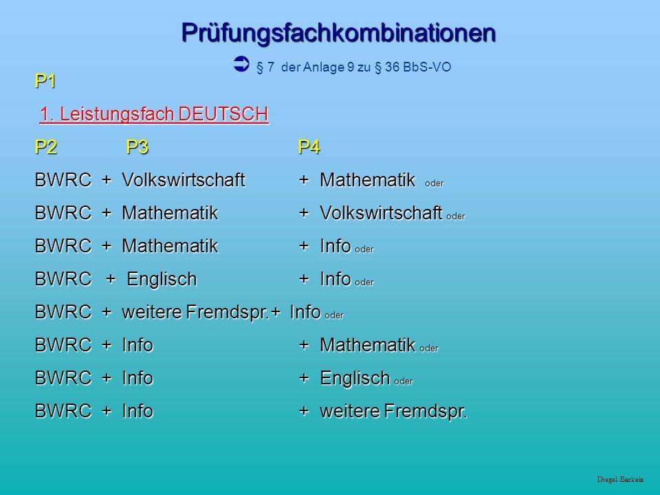 Prüfungsfachkombinationen  § 7 der Anlage 9 zu § 36 BbS-VO