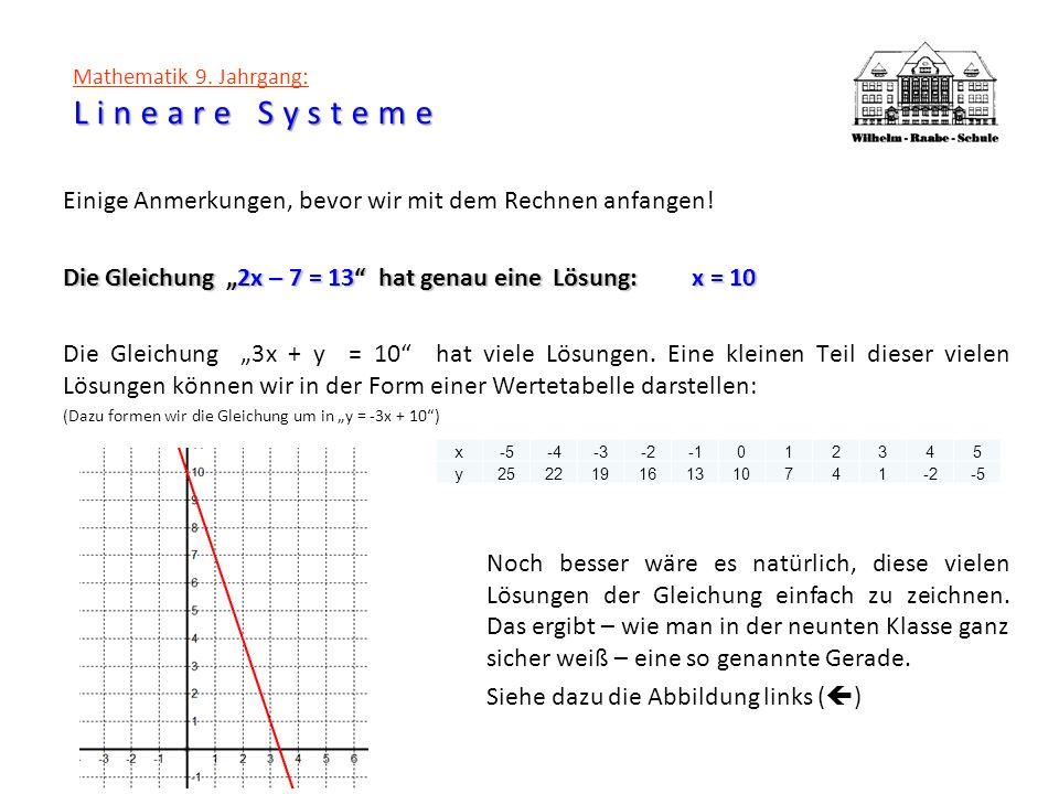 Mathematik 9. Jahrgang: Lineare Systeme