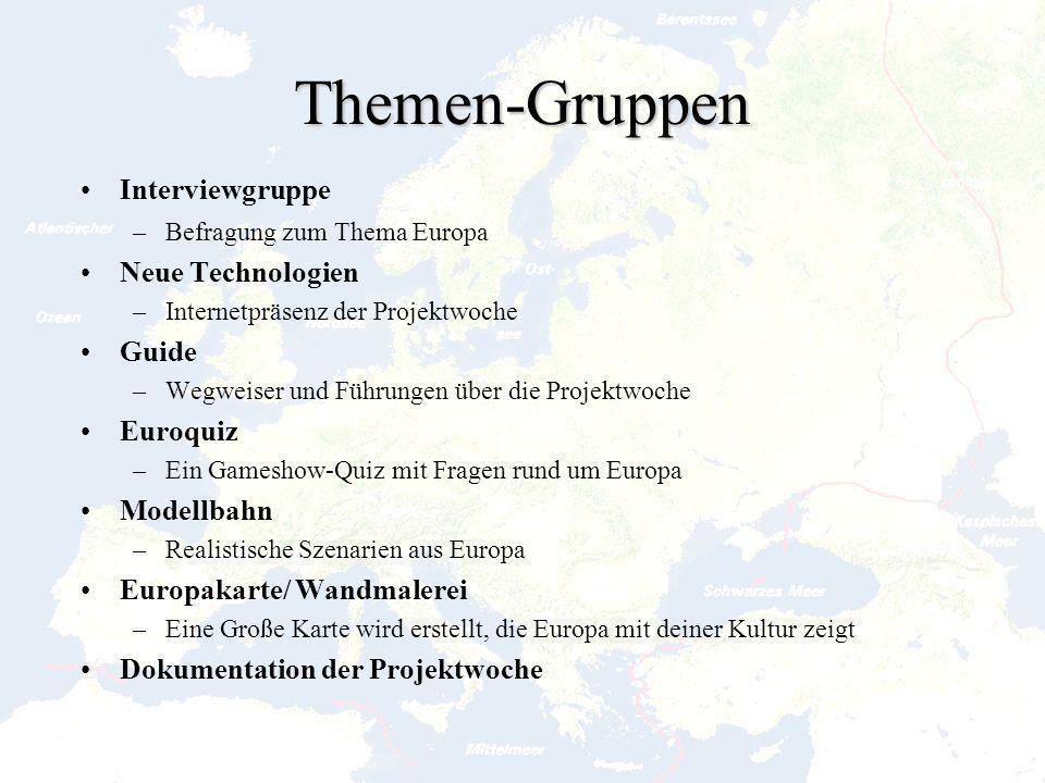 Themen-Gruppen Interviewgruppe Neue Technologien Guide Euroquiz