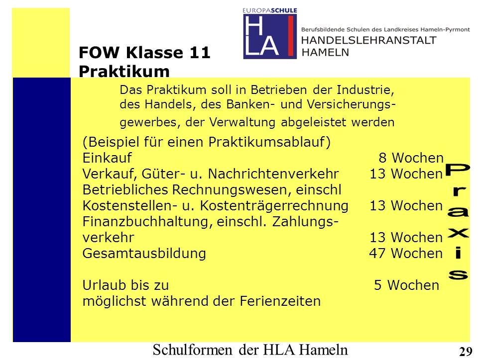 Praxis FOW Klasse 11 Praktikum (Beispiel für einen Praktikumsablauf)