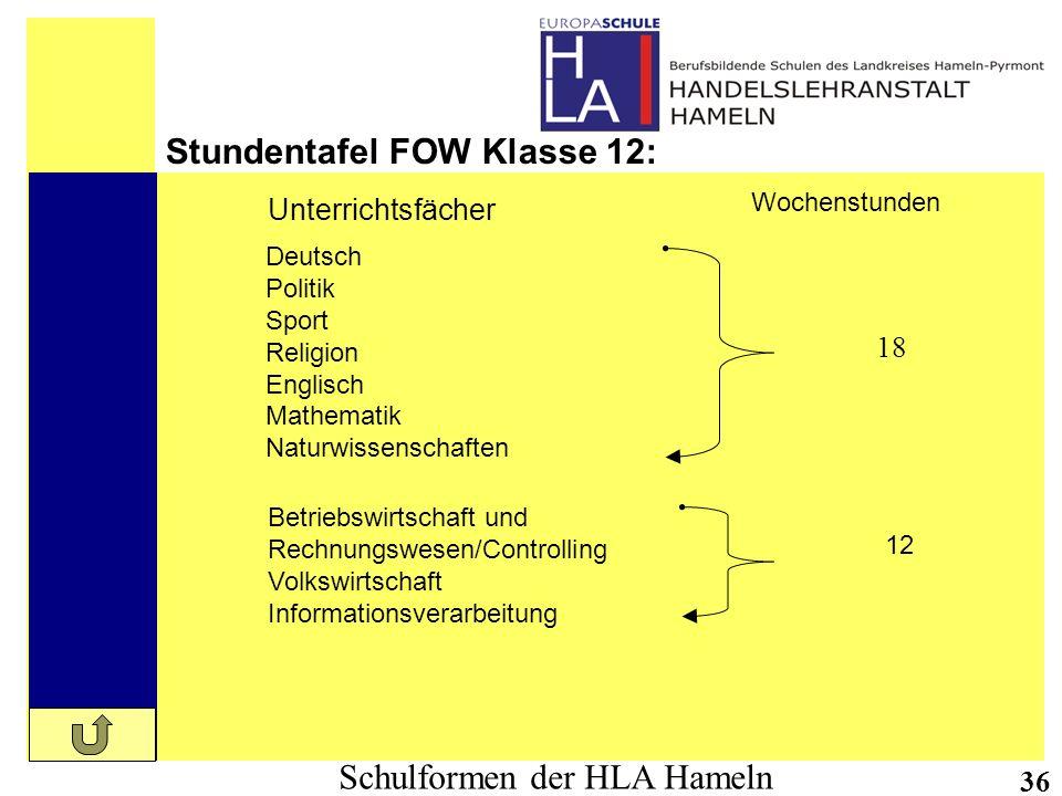 Stundentafel FOW Klasse 12: