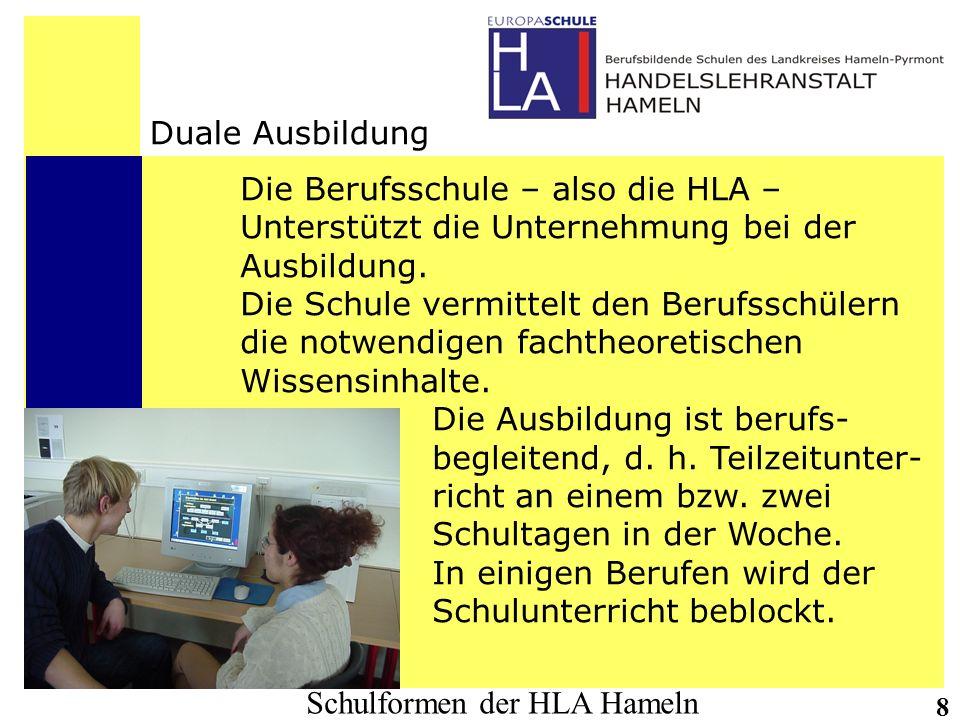 Duale AusbildungDie Berufsschule – also die HLA – Unterstützt die Unternehmung bei der. Ausbildung.