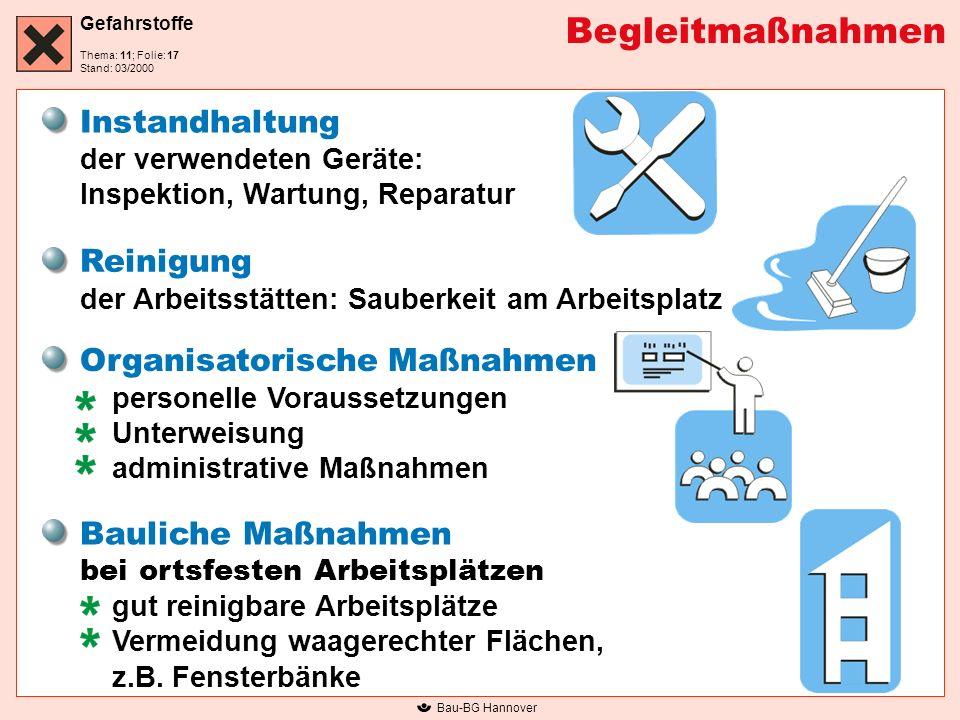 Begleitmaßnahmen Instandhaltung der verwendeten Geräte: