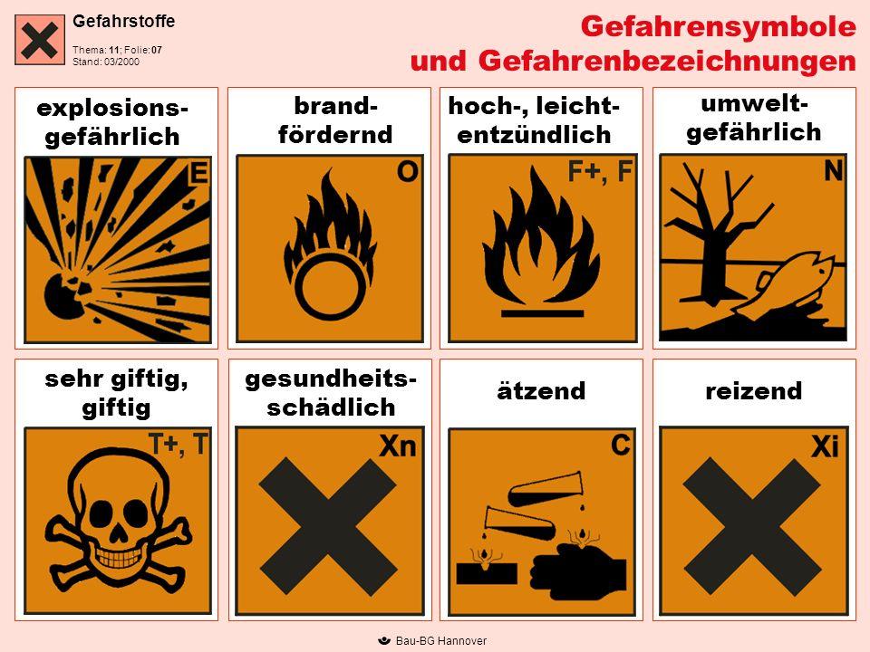und Gefahrenbezeichnungen