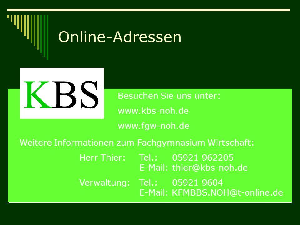 KBS Online-Adressen Besuchen Sie uns unter: www.kbs-noh.de