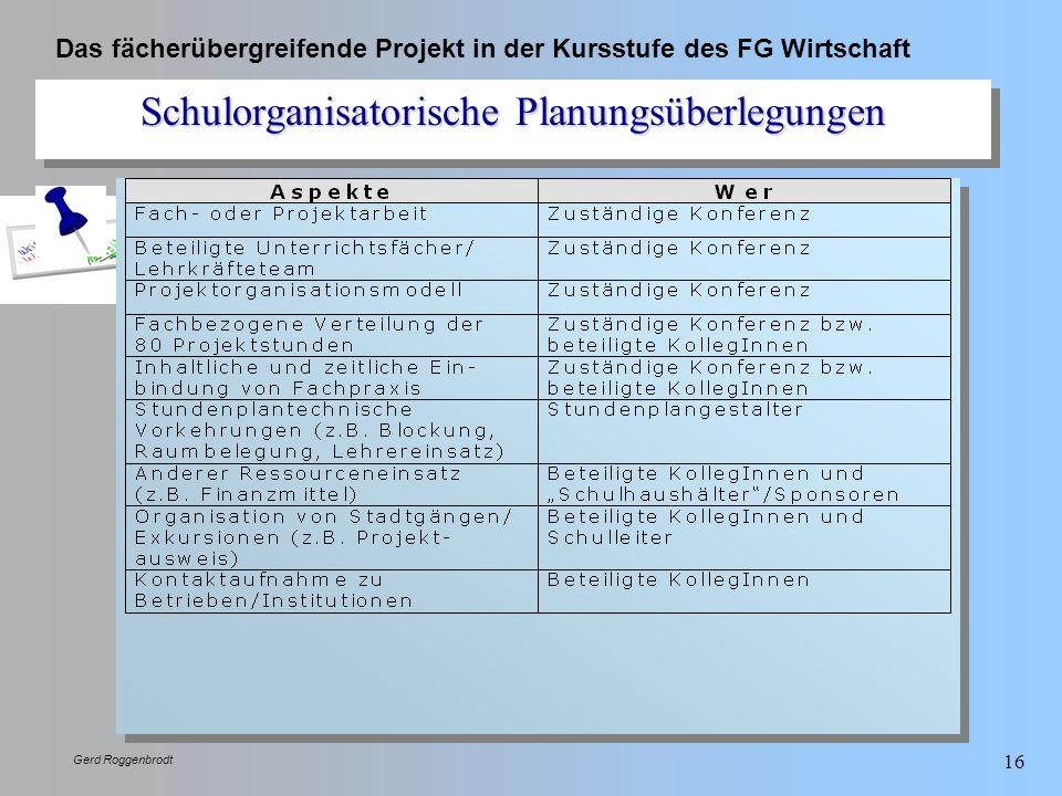 Schulorganisatorische Planungsüberlegungen