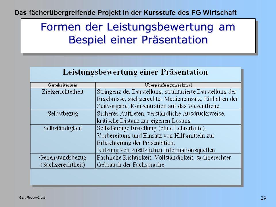 Formen der Leistungsbewertung am Bespiel einer Präsentation