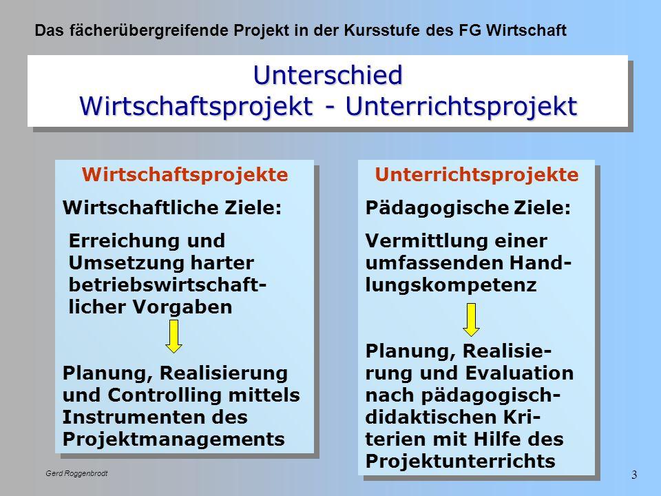 Unterschied Wirtschaftsprojekt - Unterrichtsprojekt