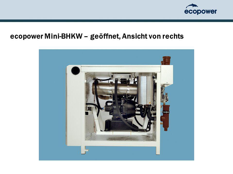 ecopower Mini-BHKW – geöffnet, Ansicht von rechts