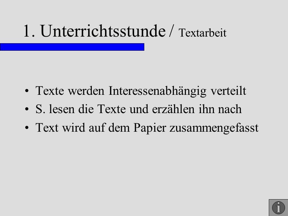 1. Unterrichtsstunde / Textarbeit