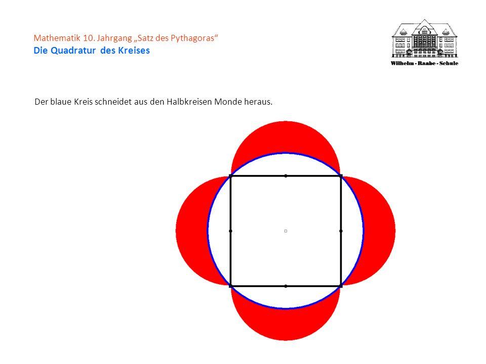 Der blaue Kreis schneidet aus den Halbkreisen Monde heraus.