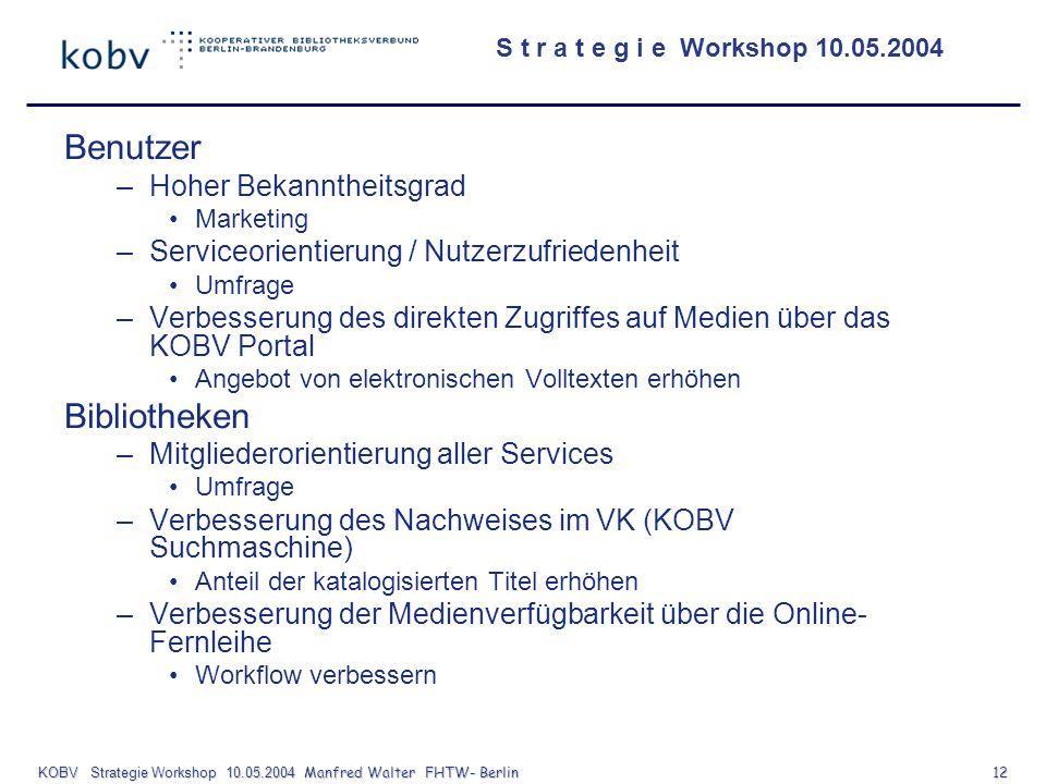 KOBV Strategie Workshop 10.05.2004 Manfred Walter FHTW- Berlin 12