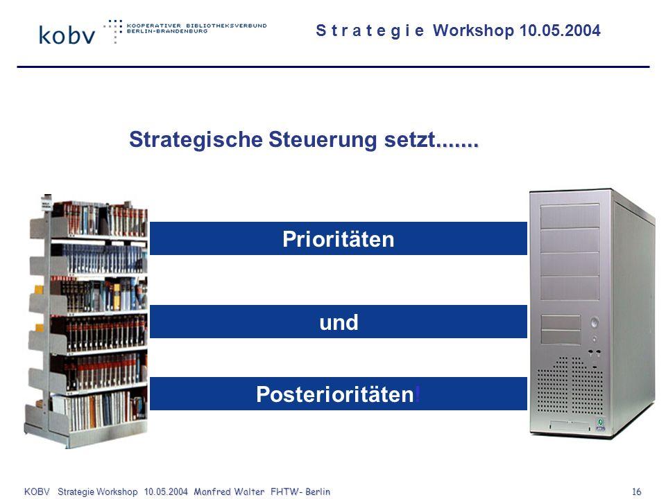 KOBV Strategie Workshop 10.05.2004 Manfred Walter FHTW- Berlin 16