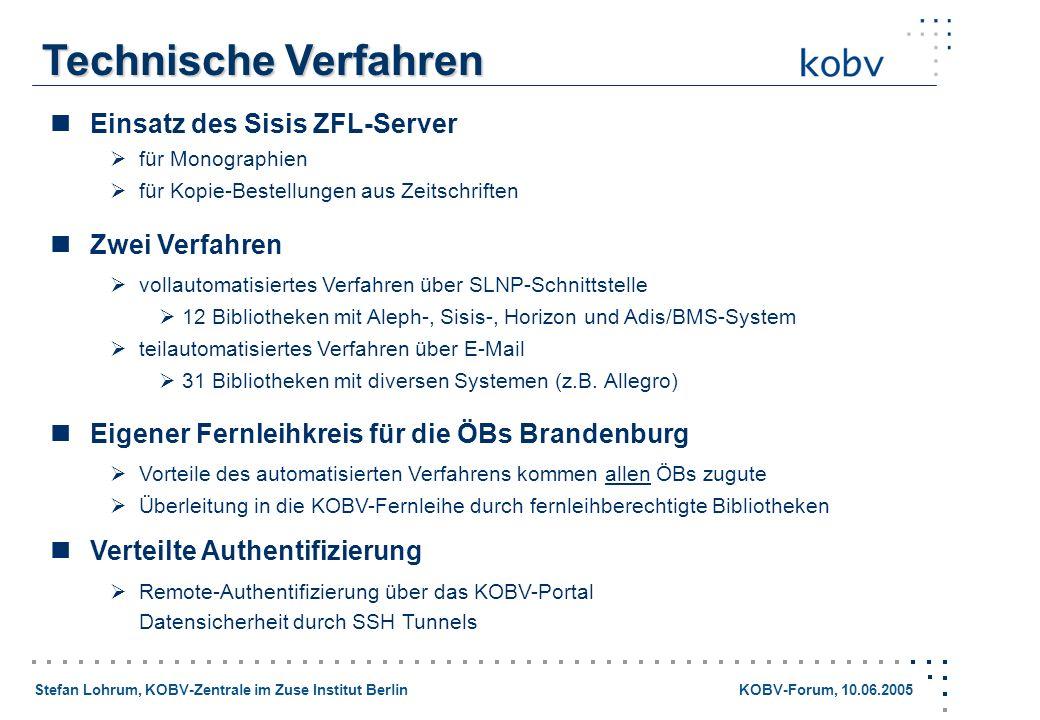 Technische Verfahren  Einsatz des Sisis ZFL-Server  Zwei Verfahren