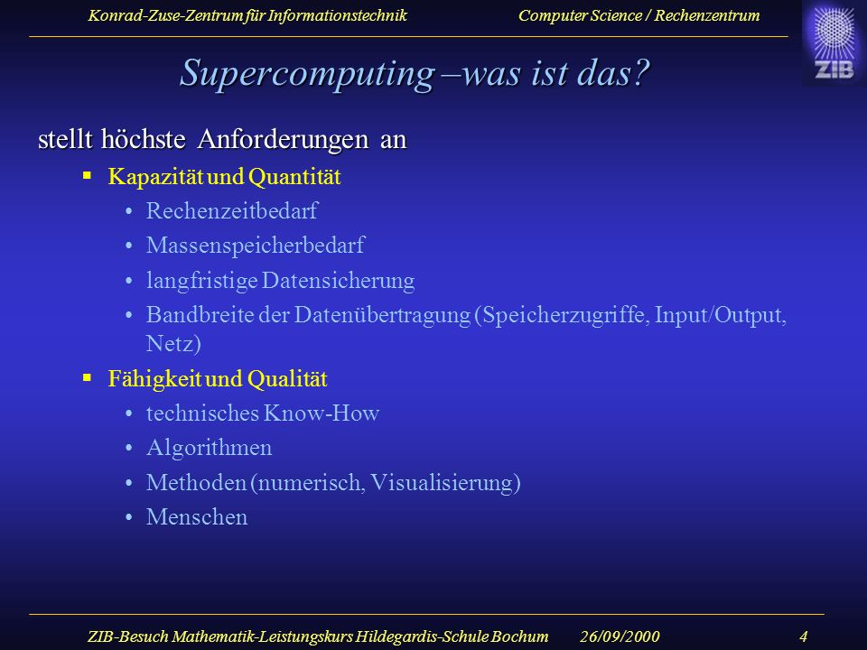 Supercomputing –was ist das