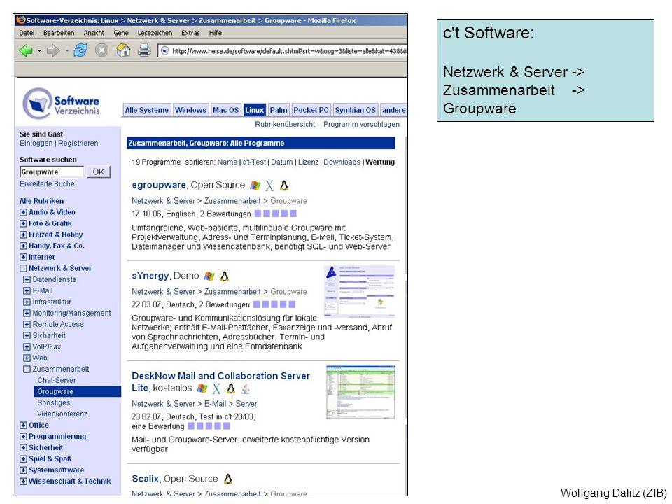 c t Software: Netzwerk & Server -> Zusammenarbeit -> Groupware