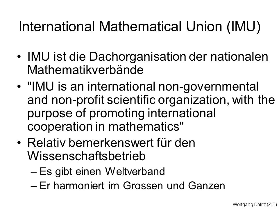International Mathematical Union (IMU)