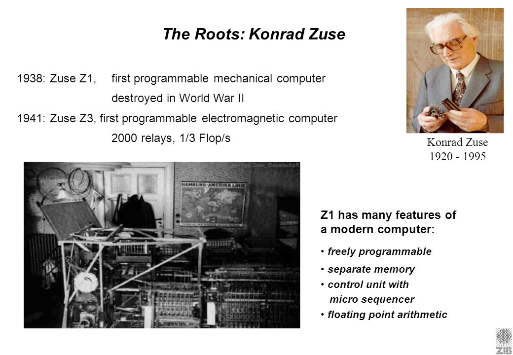The Roots: Konrad Zuse 1938: Zuse Z1, first programmable mechanical computer. destroyed in World War II.
